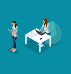 isometric 3d teenagers using hi tech gadgets vector image