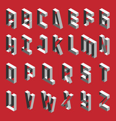 Isometric hollow letters in shades of grey vector