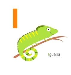 Letter i iguana zoo alphabet english abc vector