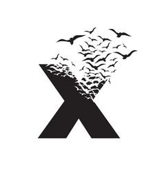 Letter x with effect destruction dispersion vector