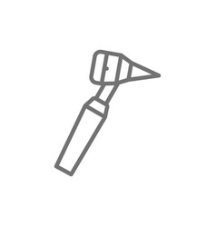 Medical otoscope tool line icon isolated on white vector