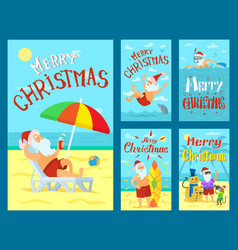 Merry christmas santa claus holidays adventures vector