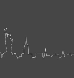 New york city skyline - sketch of nyc cityscape vector