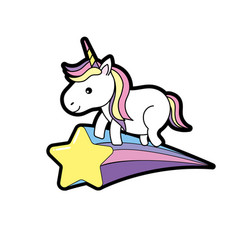 Nice unicorn with horn and shooting star vector