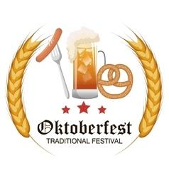 Oktoberfest food traditional label design vector