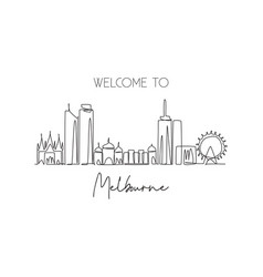 One continuous line drawing melbourne city vector