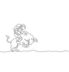 One single line drawing astronaut riding angry vector