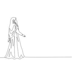 one single line drawing young beauty saudi vector image
