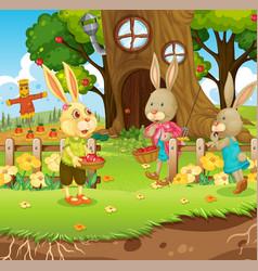 Outdoor scene with happy rabbit family vector