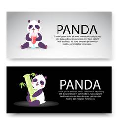 panda characters set banners vector image