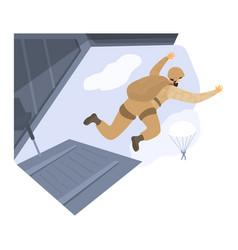 Paratrooper jump parachute combat aircraft vector