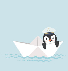 Penguin in paper boat vector