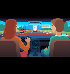 people inside car driver and passenger ride vector image