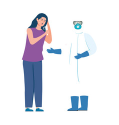 person with biohazard suit and woman coughing sick vector image