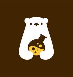 Polar bear lab laboratory negative space logo icon vector
