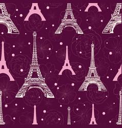 purple pink eifel tower paris and roses vector image