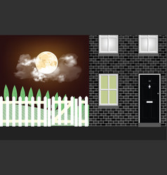residential house at night time vector image