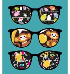Retro sunglasses with comics reflection vector image