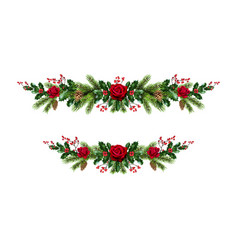 roses christmas decor set vector image