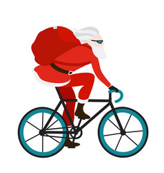 Santa bicycle delivery messenger red with gifts vector