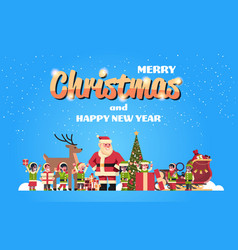 santa claus elves reindeer near fir tree vector image