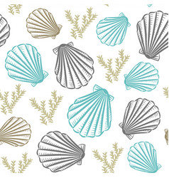 Seashells hand drawn seamless pattern vector