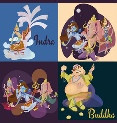 Set of isolated hindu gods meditation in yoga vector