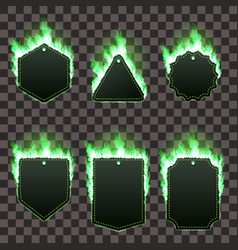 set of six frames surrounded with green flame vector image