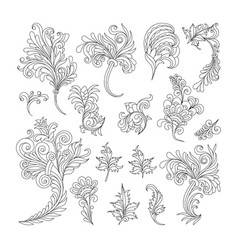 set swirl vintage ornaments for design vector image