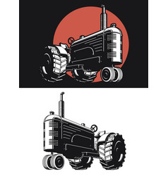 silhouette farm tractor vintage isolated vector image