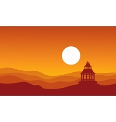 Silhouette of a chinese pavilion vector