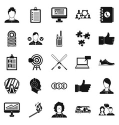Squad icons set simple style vector