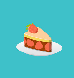 Strawberry cake with chocolate cream vector