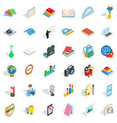 Study book icons set isometric style vector