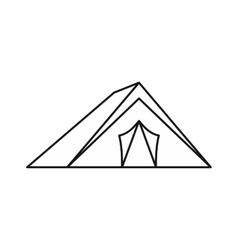 Tent icon in outline style vector