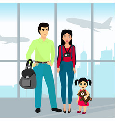 Traveling family with luggage vector