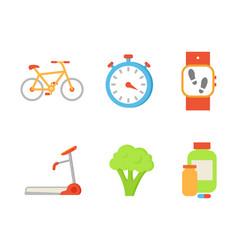 Treadmill and broccoli set vector