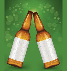 two beer bottles with blank label vector image