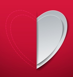 Valentines Day Heart Cut from Paper vector image