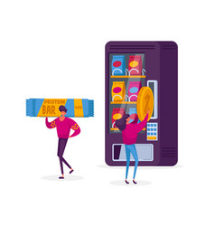 Vending machine food concept girl character put vector