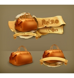 Vintage bag icon vector image