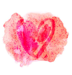 watercolor handdrawn pink and red heart vector image