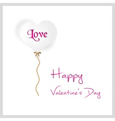 White helium balloon heart shape valentine card vector