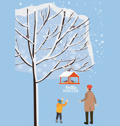 winter landscape bird feeder with feed birds vector image