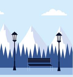 Winter landscape mountain peak trees bench lamps vector
