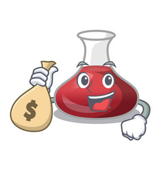 With money bag character glass decanter with red vector