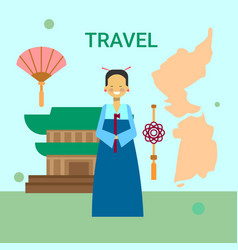 Woman in traditional korean clothes over korea map vector