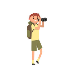 young male photographer taking a photo using vector image