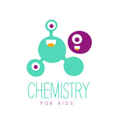 chemistry for kids logo symbol colorful hand vector image vector image