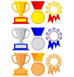 colorful winner award gold silver bronze set vector image